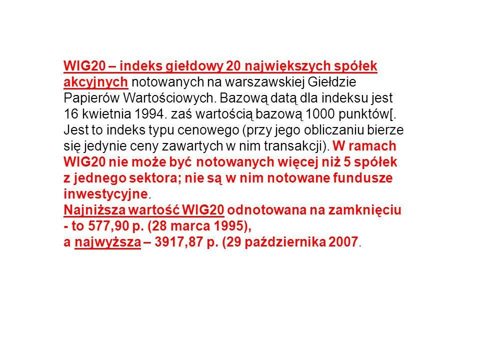 WIG20 – indeks giełdowy 20 największych spółek akcyjnych notowanych na warszawskiej Giełdzie Papierów Wartościowych. Bazową datą dla indeksu jest 16 kwietnia 1994. zaś wartością bazową 1000 punktów[. Jest to indeks typu cenowego (przy jego obliczaniu bierze się jedynie ceny zawartych w nim transakcji). W ramach WIG20 nie może być notowanych więcej niż 5 spółek z jednego sektora; nie są w nim notowane fundusze inwestycyjne.